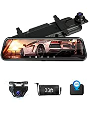 【Upgrade 10''】 Mirror Dash Cam with GPS Front and Rear Dual 1080P Rear View Mirror Camera FHD IPS Full Touch Screen Rearview Dashcam Waterproof Backup Camera Enhanced Night Vision 170° Wide Angle