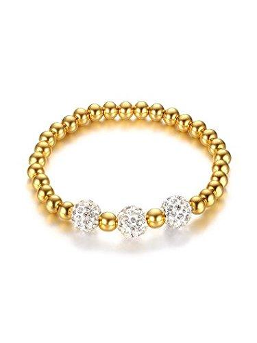 Sophie's Choice Exquisite Gold Plated Titanium Beads Rhinestone Bracelet