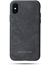 leather case for Iphone XS max 6.5 inch suede back cover Non-slip shell personality AMG printing case