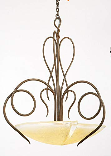 (Pendants 3 Light with Tortoise Shell Finish Hand Forged Iron and Glass E26 26 inch 300 Watts)