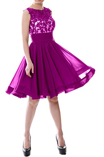 MACloth Women Beaded Lace Chiffon Short Prom Formal Dress Cocktail Party Gown Fuchsia