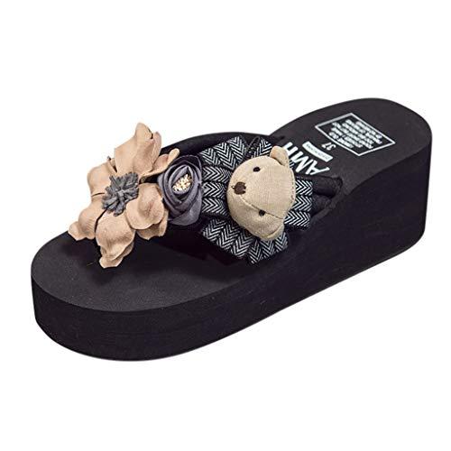 Price comparison product image Tsmile Women Sandals Girls Open Toe Flip Flops Cartoon Floral Wedges Sandals Slippers Beach Shoes Black