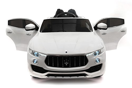 Maserati Levante 12V Power Children Ride-On Car SUV with R/C Parental Remote + LED Wheels with Rubber Traction Bands + Leather Seat + MP3 Music Player Bluetooth FM Radio + LED Lights (White)