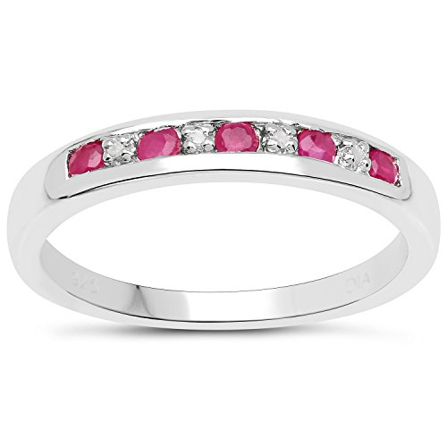 The Diamond Ring Collection: 3mm wide Sterling Silver Channel set Ruby &...