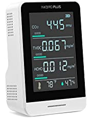 INKBIRDPLUS Air Quality Monitor, AK3 Indoor CO2 Meter Pollution Detector Formaldehyde(HCHO), TVOC, Temperature, and Relative Humidity, Real-Time Multifunctional Air Gas Detector,350~2000ppm Range