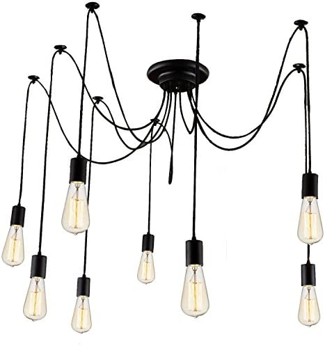 STG 8 Heads Ceiling Lamp Hanging Lighting with 60w E26 Filament Edison Light Bulb Pendant Lights 8 Heads 8 Bulbs