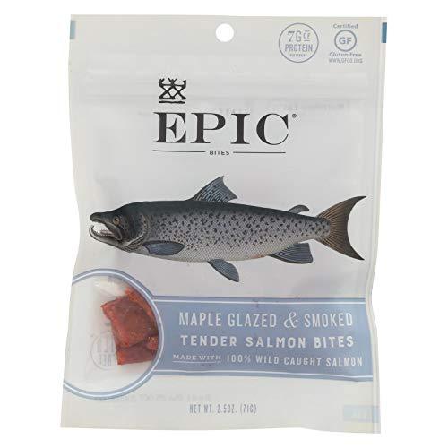 (EPIC Salmon Jerky Bites, Maple Glazed (Gluten Free) 2.5oz (Pack of 8))