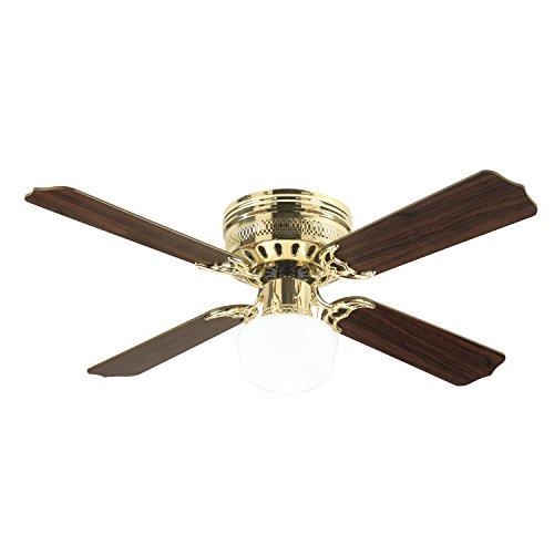 (Westinghouse Lighting 7812500 Casanova Supreme Single-Light 42-Inch Four-Blade Indoor Ceiling Fan, Polished Brass with Opal Schoolhouse Glass)