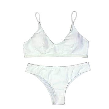 a70dbc8101 Jiayit women's sling solid color bikini split sexy sling strapless shirt  thickening bra beach bikini set