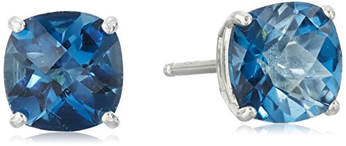 Sterling Silver Cushion Checkerboard Cut London Blue Topaz Studs (Blue Topaz Cushion Earrings)