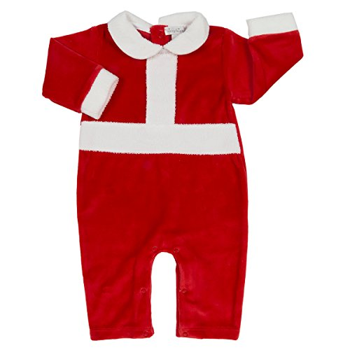 - Kissy Kissy Santas Helpers Velour Playsuit W/Collar Red-White-3-6mos