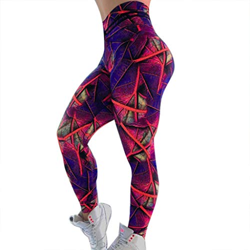 iHPH7 High Waist Yoga Pants Control Leggings Workout Stretchy Trousers Printed High-Waist Hip Stretch Underpants Running Fitness Yoga Pants (M,21- Red)