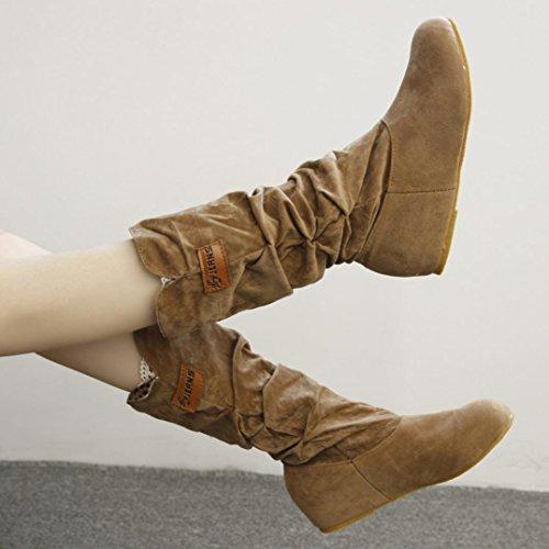 D'hiver Hunpta Nubuck Jaune Femme Plat Genou Chaussures Automne Bottes Bottes Moto Talon Hautes qxd1PHYwd