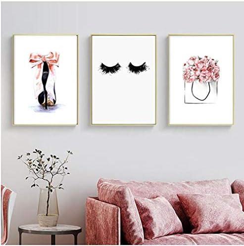 Llxhgハイヒール壁アート写真用女の子寝室の装飾ピンクキャンバス絵画目まつげポスターと版画現代家の装飾-40×60センチ×3