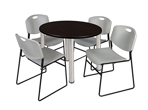 """Kee 36"""" Round Breakroom Table- Mocha Walnut/ Chrome & 4 Zeng Stack Chairs- Grey"""