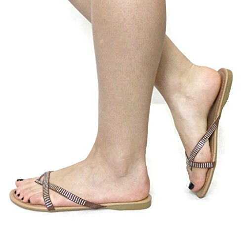 Anna Womens Basic Casual Gladiator Sandalen Slippers Flats Taupe