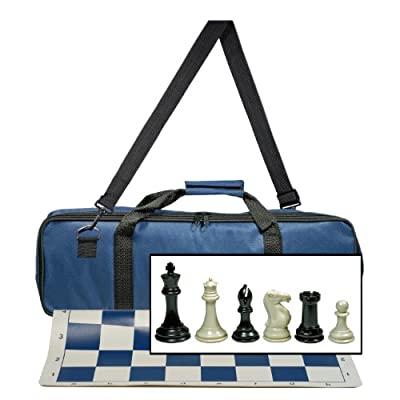 "WE Games WE Games Ultimate Tournament Chess Set with NEW Blue Silicone Chess Mat, Blue Canvas Bag & Super Triple Weighted Chessmen with 4"" King"