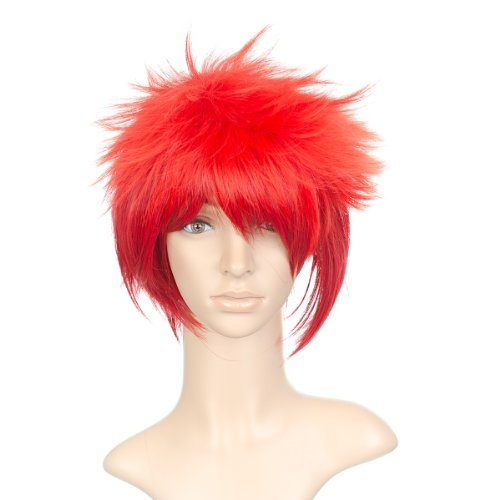 Fire Red Styled Short Length Anime Cosplay Costume Wig (Cosplay Costumes)