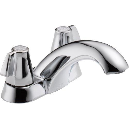 Delta 2500LF Classic Two Handle Centerset Bathroom Faucet - Less Pop-Up, Chrome