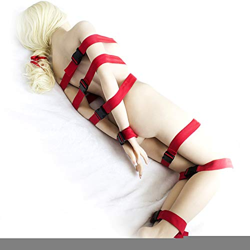 7Pcs Nylon Body Bondage Belts Handcuff Tape Hand Restraint Cuffs Band Strip Set Adult Slave Game SM Sex Toy for Couple Women Men Red by PilWEIL