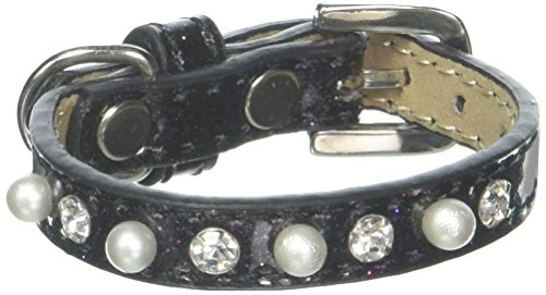 Mirage Pet Products Pearl and Jewel Ice Cream Collar, 8-Inch, Black