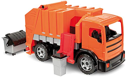 LENA Powerful and Giant Orange Garbage Truck Toys for Kids, Manually Operated and Easy - Lifts Manually Operated