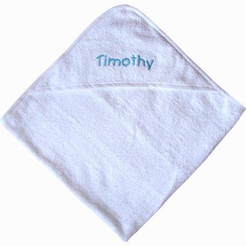 Teddyt'S Personalised Name Super Soft Hooded Bath Towel 75Cm X 75Cm Blue