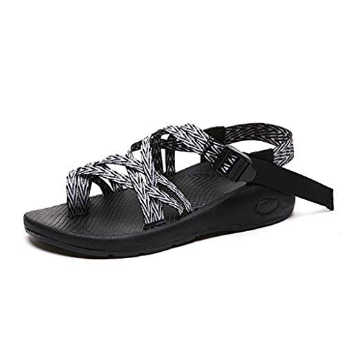 Minetom Women Sandals Ankle Buckle Classic Comfortable Lightweight Athletic Wedge Sandal Casual Flip Flops Classic Athletic Sandal Black and White 9 M US