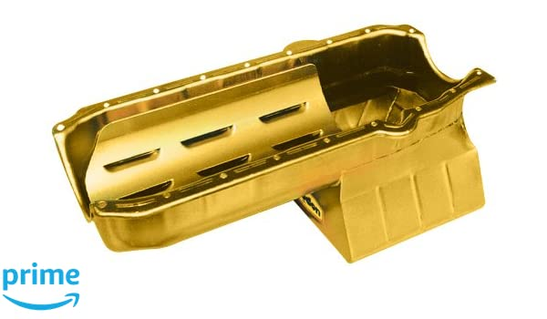 Milodon 30908 Steel Gold Zinc Plated Stroker Street and Strip Oil Pan for Small Block Chevy