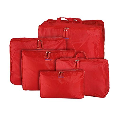 Waterproof 5-Piece Packing Bags (Red) - 6
