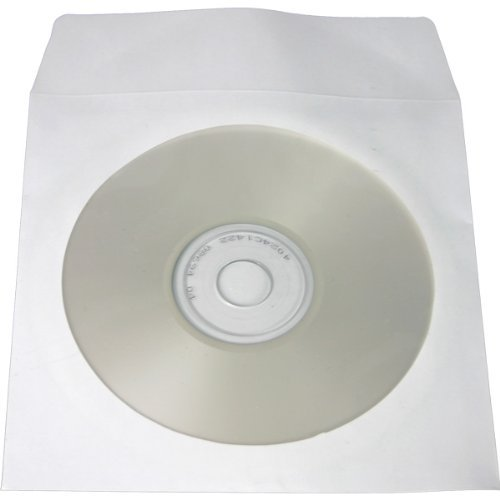500 White Paper CD / DVD Disc Sleeves With Flap & Window #CDIWWF - Perfect for Storing CDs and DVD Discs! - 500 White Paper
