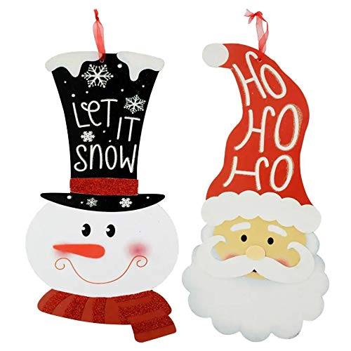 Christmas Decorations Celebrate a Holiday Wood Signs Wall Decor Farmhouse Indoor Outdoor Country Yard Porch Plaque Winter Hanging with Cord Wooden Hanger Decore Snowman and Santa Claus Set of 2 Pack