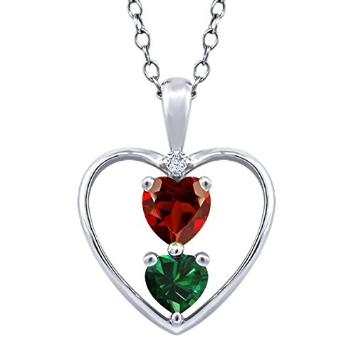 Heart Shape Red Garnet Green Simulated Emerald 925 Sterling Silver Pendant With 18 Inch Chain