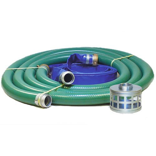 JGB Enterprises Eagle Hose PVC/Aluminum Water/Trash Pump Hose Kit, 2'' Green Suction Hose Coupled M x F WS, 2'' Blue Discharge Hose Coupled M x F WS, 29 Vacuum Rating, 80 PSI Maximum Temperature, 25' Length, 2 ID by JGB Enterprises