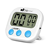 EC Technology Digital Kitchen Timer Count Up Countdown timer with Larger LCD Display and Magnetic Backing for Kitchen Cooking Baking Sports Games Office-White