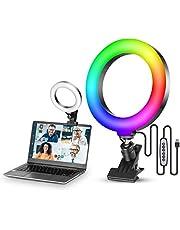 VIJIM Video Conferentie Verlichting Kit, 6.3 inch Selfie RGB Ring Licht voor Monitor Clip On, Laptop Circle Lamp voor Computer Video Conferencing Webcam Licht voor Remote Werken, Zoom Call, Live Streaming, Tik Tok