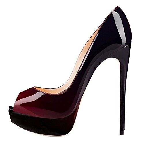 Joogo Women Peep Toe Pumps Platform Thin Heel Stiletto Sandals Wedding High Heels Slip On Dress Shoes Wine Red to Black Size ()