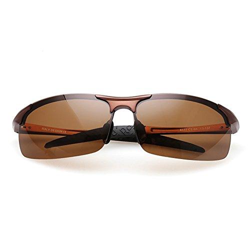 UVA Aire Libre Polarizada De 100 Clásico Borde UV Protección Color Protección Anti Hombres Gafas Gafas De Visión Gafas Sol De Azul Luz WYYY Marrón Nocturna Sin Gafas Conducción Solar 8BqUZ6x