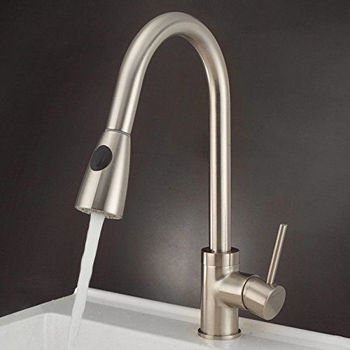 Commercial Single Lever Pull Down Kitchen Sink Faucet Brass Constructed Polished Sink Faucet Kitchen Pull-Out Single Hole redating Sink Faucet Hot and Cold Kitchen Faucet Sink Faucet