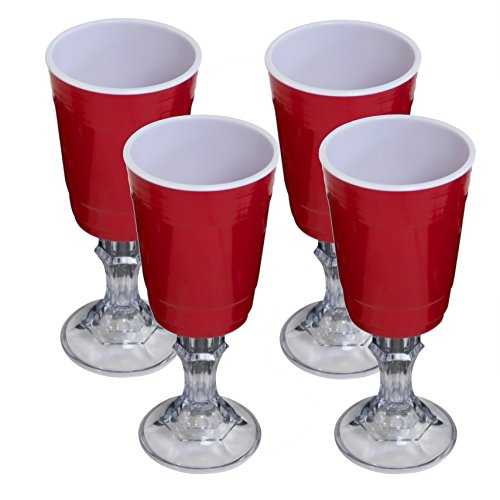 Red Cup 16-Ounce Stemmed Wine Glass - 4-Pack]()