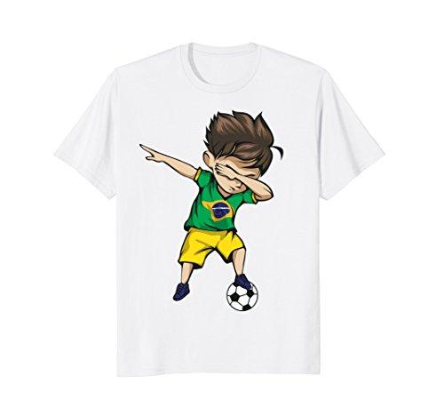 Dabbing Soccer Boy Brazil Jersey Shirt - Brazilian Football Team Flag Football Jersey