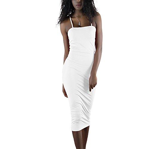 Sherro Women Basic Seamless Camisole Slip Dress Bodycon Long Spaghetti Strap Cami ()