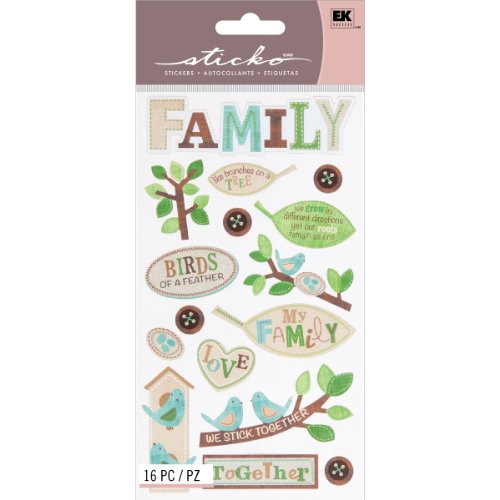 (EK Success Brands Decorative Sticko Stickers, The Family Tree)