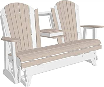 LuxCraft Recycled Plastic 5 Adirondack Glider Chair with Flip Down Center Console