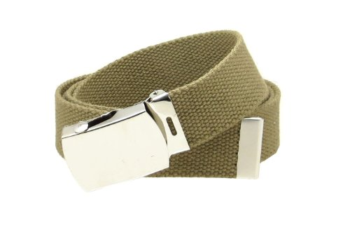 Tan Web Belt with Buckle Military Style