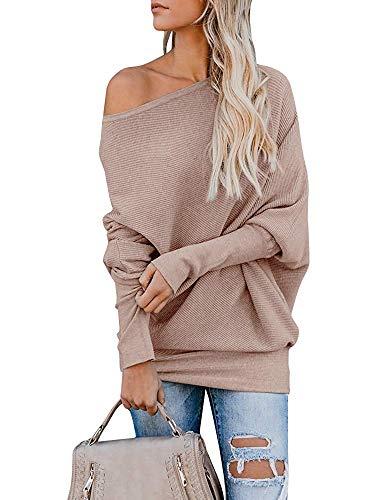 Gemijack Womens Off Shoulder Jumper Rib Knitted Batwing Pullover Sweater Knit Tops Khaki