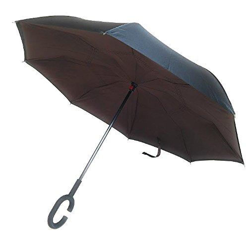 Umbrella Windproof Nylon (Dual Layer Inverted Umbrella Reverse Folding Umbrella Wind & UV Proof C Handle (Brown))