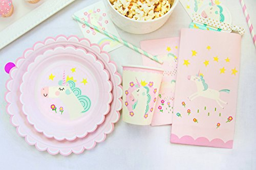 NEW: Unicorn Theme Birthday Party Set Supplies Pack PINK - Accessories, Decorations for Kids Parties - Table Sets For Girls - Paper Plates, Cups, Napkins, Goodie Bag, Straws & Gift Favors for 16 Ppl
