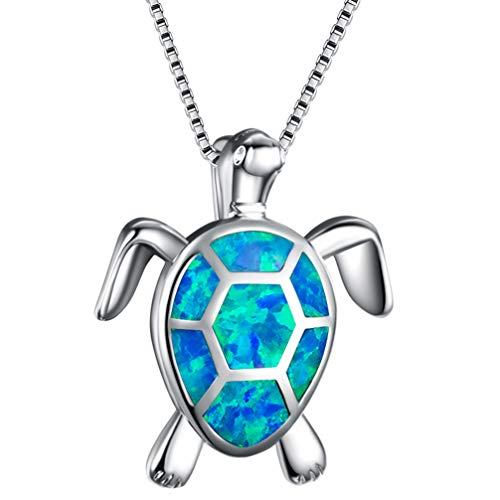 silver angel Animal Earrings Pendant Necklace Sea Turtle Australian Opal Birthstone Birthday Gifts for Women Girls Ring Size 6 7 8 9 10 ()