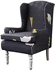 Crafttable 2 Piece Wing Chair Slipcovers Printed Stretch Wingback Chair Cover Spandex Wingback Armchair Covers with Elastic Bottom for Living Room Bedroom Wingback Chair